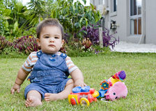 Male baby in garden Royalty Free Stock Photos