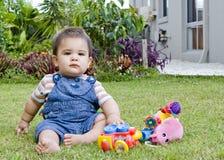 Male baby in garden Royalty Free Stock Photos