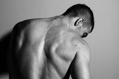 Male back. Muscle male back in black and white Stock Photography