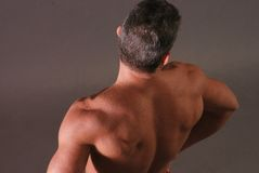 Male back muscles from overhead Royalty Free Stock Photography