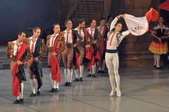Male ballet. Don Quichotte ballet, ballet company of the Odessa National Academic Theater of Opera and Ballet, Ukraine Royalty Free Stock Photo