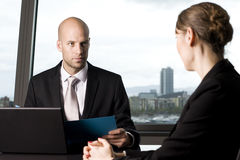 Male banker deciding credit Royalty Free Stock Images