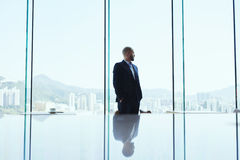 Male banker is standing in modern office interior and watching in window on business district stock photography
