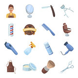 Male barber, symbol, clipper and other equipment for hairdressing.Barbershop set collection icons in cartoon style Stock Photos