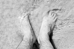 Male bare feet in a warm sand on a sunny beach during vacation. Royalty Free Stock Image