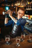 Bartender works with shaker at the bar counter. Male bartender in apron works with shaker at the bar counter. Alcohol beverage preparation. Barman occupation stock photos