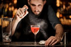 Bartender pours an alcohol cocktail using sprayer. Male bartender with beard in gray shirt pours an alcohol cocktail with oyster using steel sprayer with big royalty free stock images