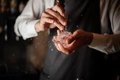 Free Male Bartender Breaking An Ice Cube With A Special Tool Royalty Free Stock Photo - 124318875