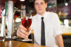 Male bartender serving alcohol Royalty Free Stock Photography