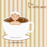 Male bathing in a cup of coffee like an onsen Royalty Free Stock Photo