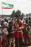 Male baton bearers from the Ethiopian band Stock Photo