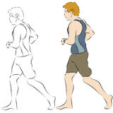 Male Beach Jogger. An image of a male beach jogger line drawing Royalty Free Stock Image