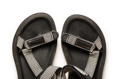 Male beach sandals on white background. Closeup Stock Photos