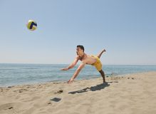 Male beach volleyball game player Stock Images