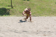 Male Beach Volleyball Game Player Jump On Sand Royalty Free Stock Photo