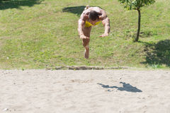 Male Beach Volleyball Game Player Jump On Sand Stock Images