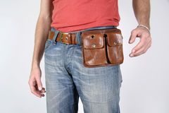 Male belt bags pouches Royalty Free Stock Photo