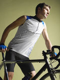 Male Bicyclist With Bicycle Stock Photography