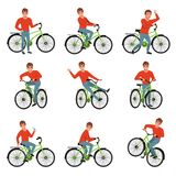 Male bicyclist riding on bike set, active lifestyle concept vector Illustrations on a white background Stock Photography