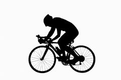 Male bicyclist riding isoated on white background. use clipping Royalty Free Stock Images