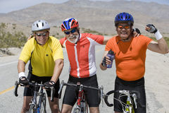 Male Bicyclists With Bicycles Royalty Free Stock Photo