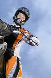 Male Bike Rider With Motorbike Royalty Free Stock Photography