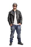 Male biker in a black leather jacket Stock Photo
