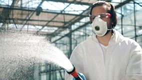 Male biologist sprays water on greenhouse plants.