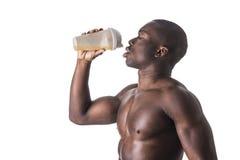 Male black bodybuilder wearing white tanktop Stock Photography