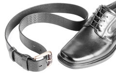 Male black shoe with belt on white Royalty Free Stock Image