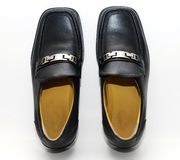 Male black shoes. Isolated on the white background Royalty Free Stock Photo