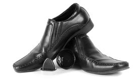 Male black shoes with the cleaning wax. Male black shoes with cleaning wax Royalty Free Stock Photography