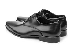The male black shoes isolated on white Stock Photography