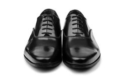 Male black shoes isolated on white Stock Photos