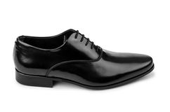 The male black shoes isolated on white Royalty Free Stock Image