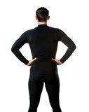 Male black thermal underwear, back view Stock Photo