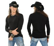 Male with blank black long sleeve shirt. Photo of a male with blank black long sleeve shirt, front and back. Ready for your design or artwork Stock Photos
