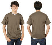Male with blank chestnut shirt. Young male with blank chestnut t-shirt, front and back. Ready for your design or logo Royalty Free Stock Photography