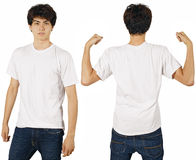 Male with blank white shirt. Young male with blank white t-shirt, front and back. Ready for your design or logo Stock Photography
