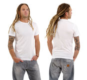 Male with blank white shirt and dreadlocks. Photo of a male in his early thirties with long dreadlocks and posing with a blank white shirt.  Front and back views Stock Photography