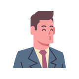Male Blow Kiss Emotion Icon Isolated Avatar Man Facial Expression Concept Face. Vector Illustration Stock Photos