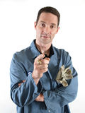 Male in Blue Lab Coat Pointing Royalty Free Stock Photography