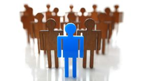 Male blue plastic toy businessman silhouette. Wooden crowd figure background closeup. Manipulate work recruitment transfer labour inspectorate experience royalty free stock photo