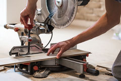 male boards, and miter saw Royalty Free Stock Photo