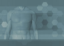 Male body background. An illustration depicting a male torso on mosaic background Stock Photos