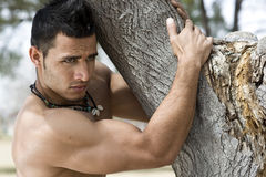 Male Body Builder. Muscular and attractive, unshaved man, a real troublemaker Stock Images