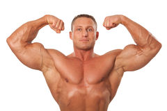 Male body builder demonstrating pose, isolated Stock Images
