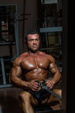 Male body builder doing heavy weight exercise for back. Male bodybuilder doing heavy weight exercise for back Royalty Free Stock Photos