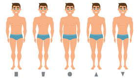 Male body figures, man standing, men shapes. Male body figures. The man standing. Men shapes, five types triangle, inverted triangle, rectangle, rounded. Vector Stock Image