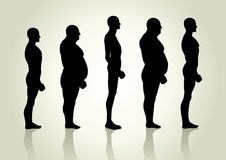 Male Body Type. Silhouette illustration of men figure from side view Stock Photography